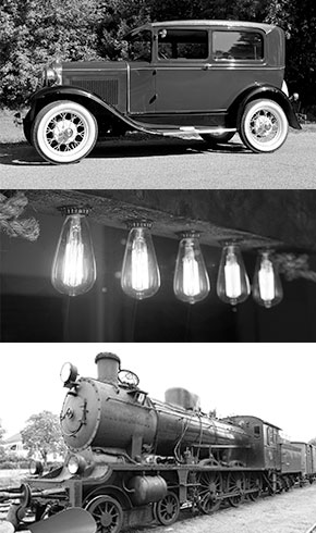 model T, lightbulbs and train